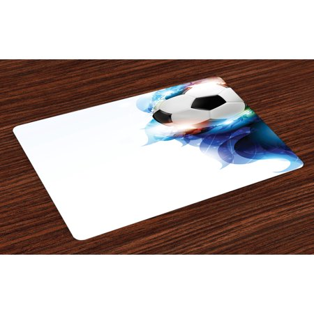 Soccer Placemats Set of 4 Soccer Ball Surrounded by Art Graphic Vivid Petals Football Game Theme, Washable Fabric Place Mats for Dining Room Kitchen Table Decor,Dark Blue White Black, by Ambesonne - Themes For Football