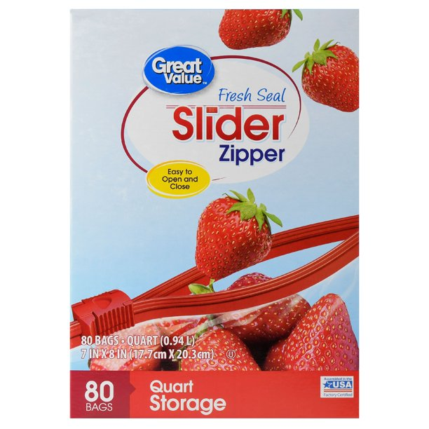 Great Value Slider Zipper Storage Bags, Quart, 80 Count