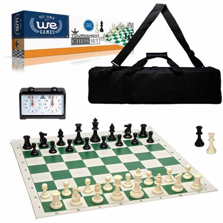 Complete Deluxe Tournament Chess Set, Black Canvas Bag, Heavy Weighted Staunton Chess Pieces, and Royal Crest Analog Chess Clock/Timer Deluxe Staunton Chess Set
