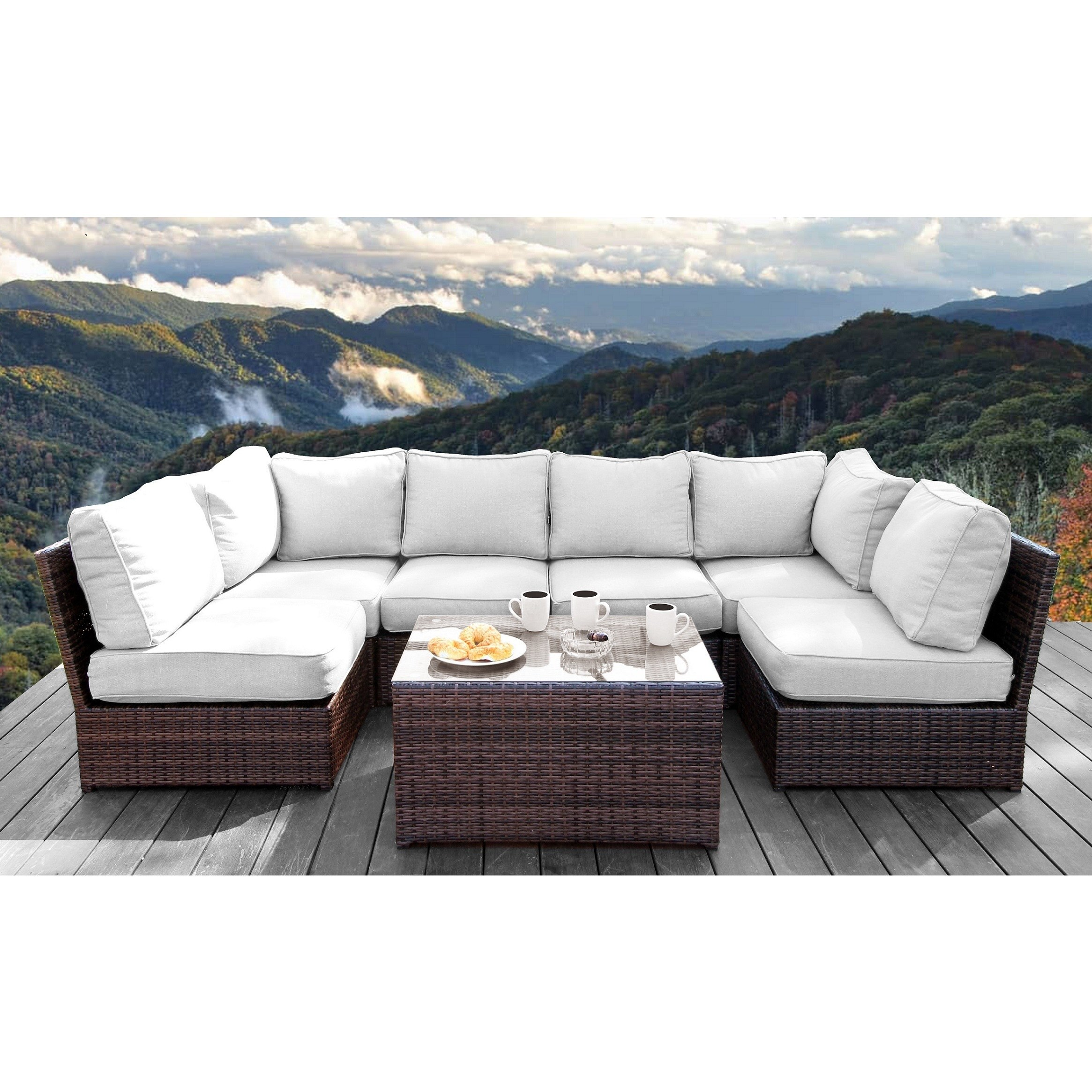 Living Source International All Weather Resort Grade Outdoor Furniture Patio Sofa Set With Back Cushions - 7 Piece Conversation Lounge