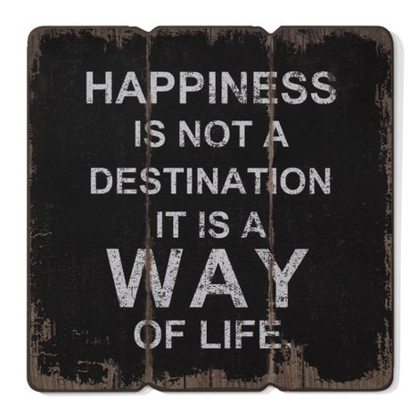 Winston Porter 'Happiness is a Way of Life' Textual Art on Wood