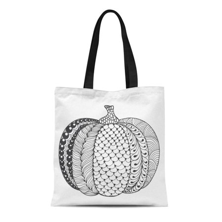 Traditional Halloween Food Uk (ASHLEIGH Canvas Tote Bag Zentangle Pumpkin Black White Traditional Symbol of Thanksgiving Halloween Reusable Shoulder Grocery Shopping Bags)