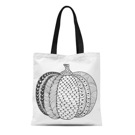 ASHLEIGH Canvas Tote Bag Zentangle Pumpkin Black White Traditional Symbol of Thanksgiving Halloween Reusable Shoulder Grocery Shopping Bags Handbag](Traditional Halloween Food Uk)