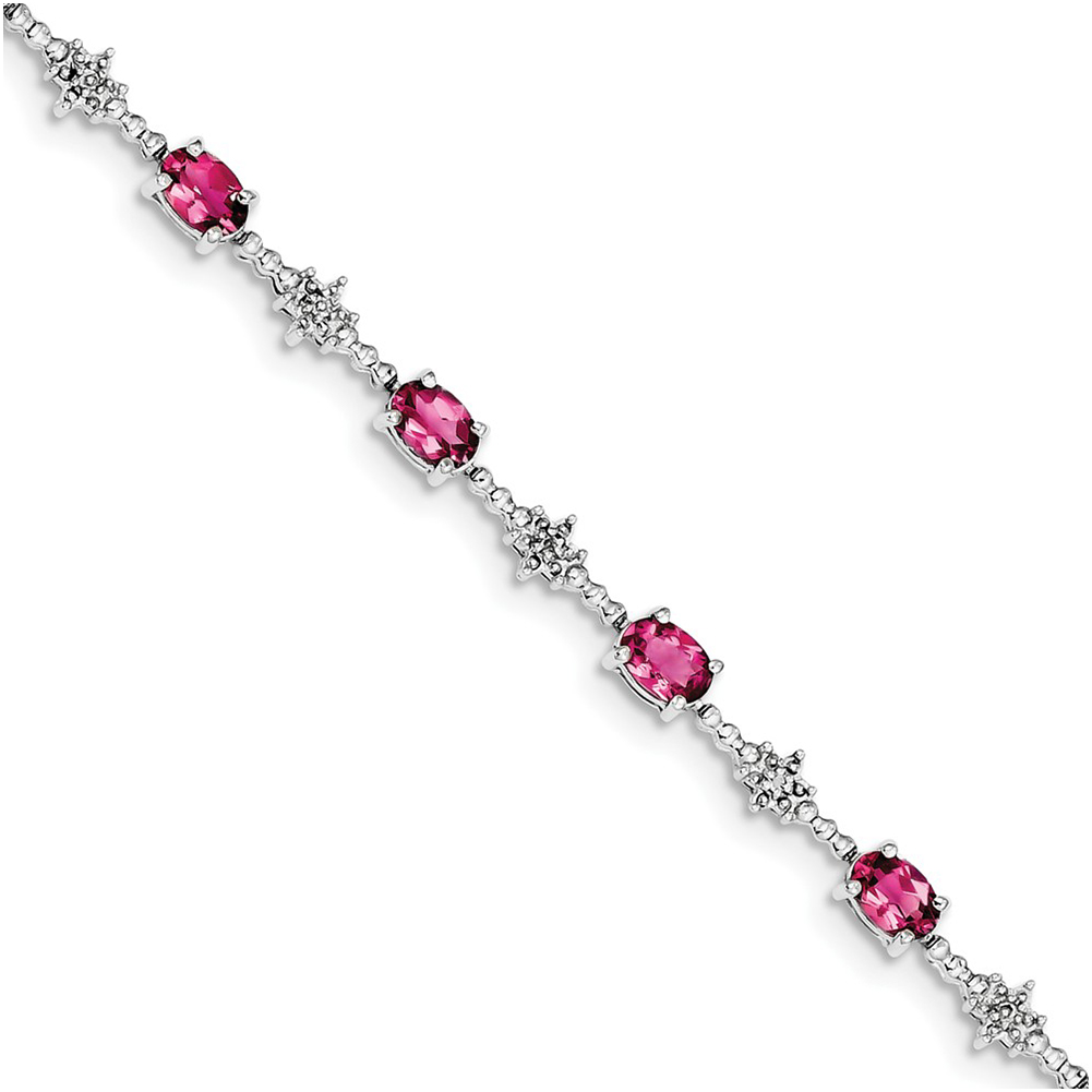 Sterling Silver Pink Tourmaline and Diamond Bracelet QX859PT by