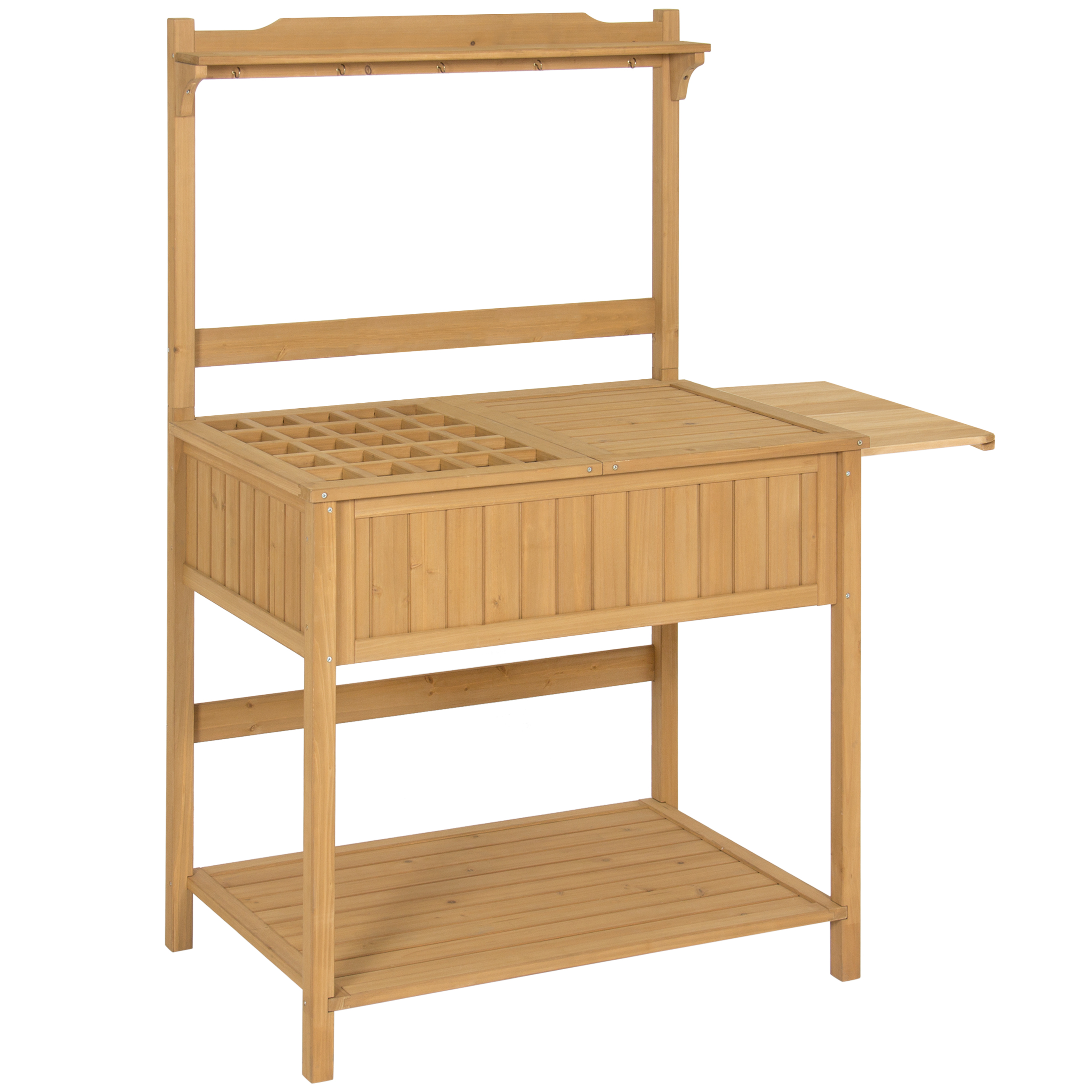 Best Choice Products Outdoor Garden Wooden Recessed Storage Potting Bench Work Station w/ Removable Lattice Top, 5 Tool Hooks, Tabletop Extension, Lower Shelf - Natural