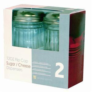 Twin Pack of 12 oz Glass Sugar Parmesan Cheese Flip Top Dispenser Server Shaker Cheese Server Sterling Handle