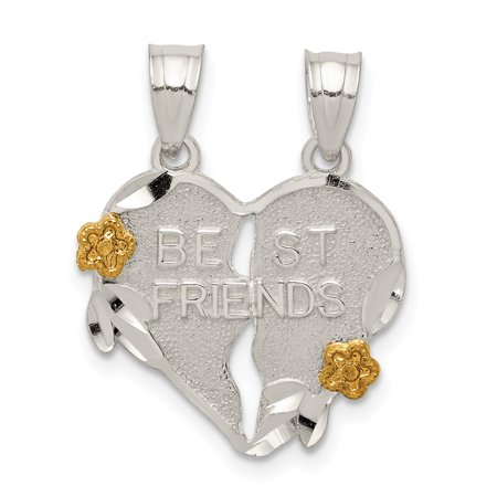 925 Sterling Silver Best Friends Bestfriend Friendship 2 Piece Break Apart Heart Pendant Charm Necklace Special Person Break?apart Love Gifts For Women For