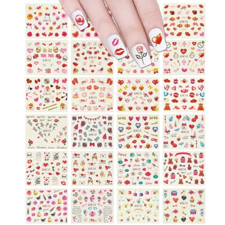 - ALLYDREW 24 Sheets I Love You Hearts Nail Art Water Slide Nail Decal Sheet Set