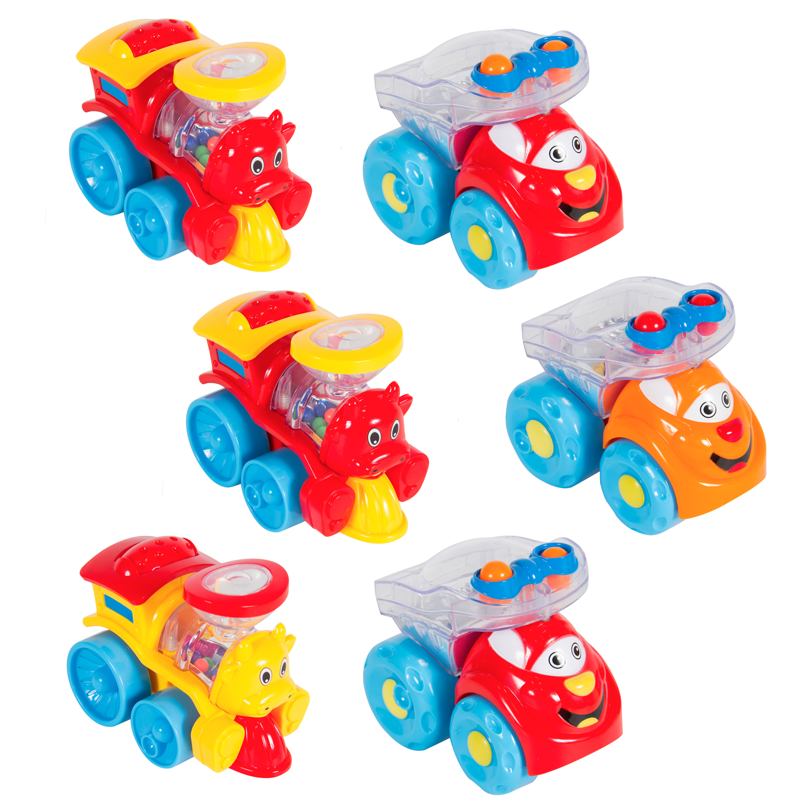 Best Choice Products Set of 6 Wind Up Rattle Toy Cars and Trains Multicolor by Best Choice Products