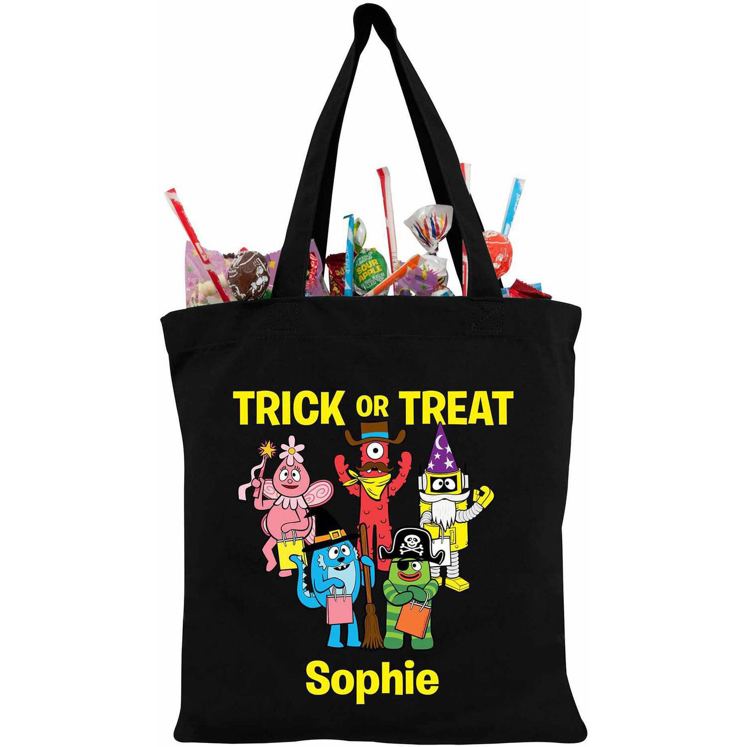 Personalized Yo Gabba Gabba Costumes Black Trick-Or-Treat Bag