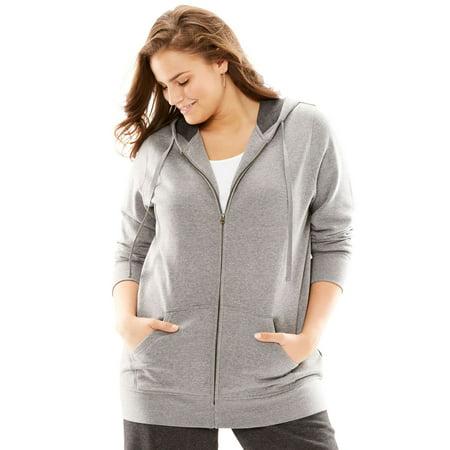 d1532480b66903 Woman Within - Plus Size Better Fleece Zip-front Hoodie - Walmart.com