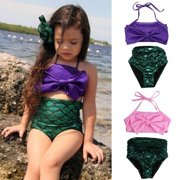 Kids Girls Mermaid Bikini Set Swimmable Swimming Princess Costume Swimsuit 2-14Y