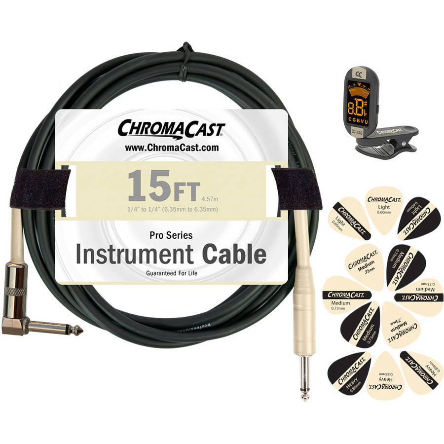 ChromaCast Guitar Accessory Pack Includes: 15' Straight-Angle Instrument Cable, Tuner and Pick Sampler