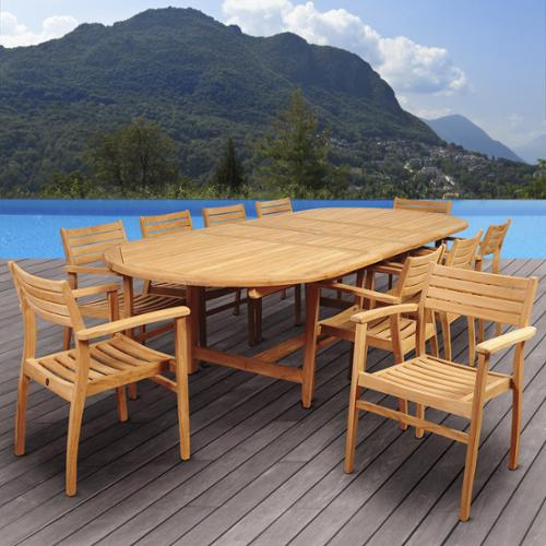 Amazonia Teak Chiesa 11-piece Teak Double Extendable Oval Patio Dining Room Set by Overstock