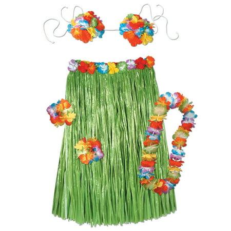 Pack of 6 Tropical Island Adult Sized Hawaiian Hula Dancer Costume Sets