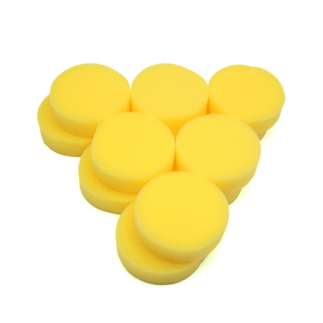 12 Pcs Yellow Polish Wax Round Foam Sponges Applicator Pads for Auto Car by Unique Bargains