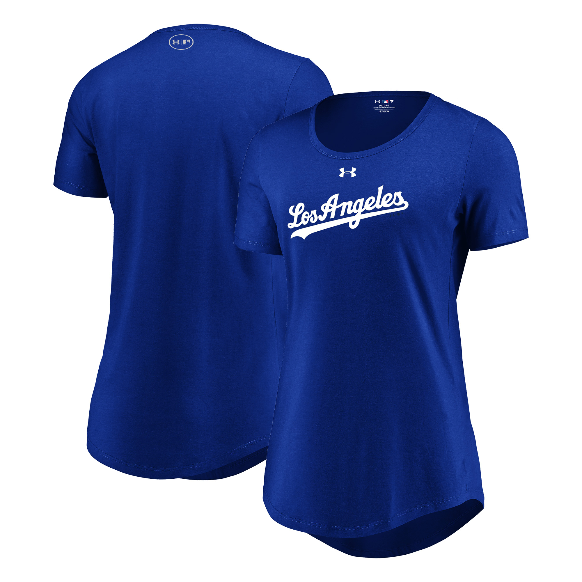 Los Angeles Dodgers Under Armour Women's Passion Road Team Font Scoop Performance Tri-Blend T-Shirt - Royal