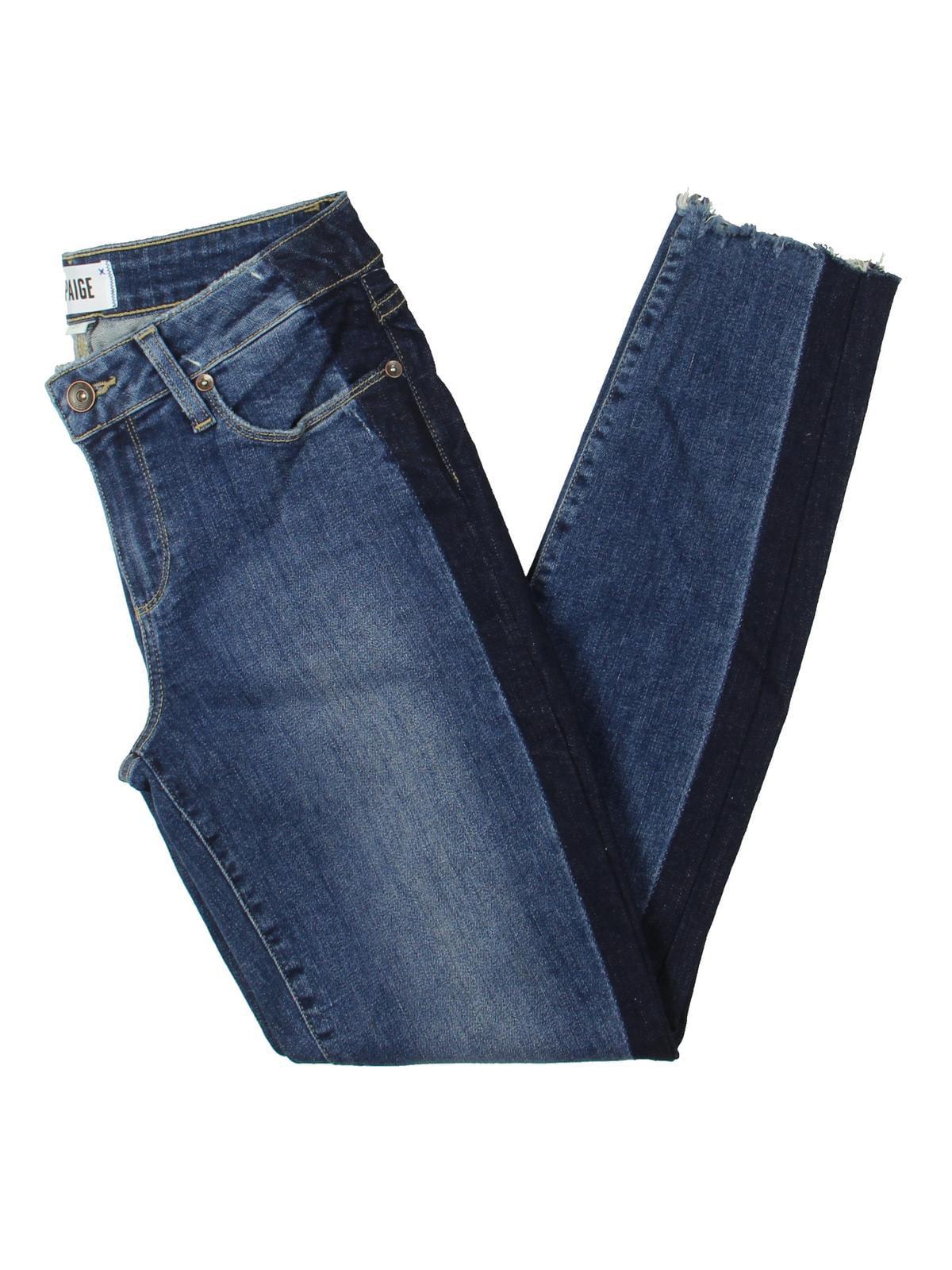 Paige Womens Stripe Distressed Skinny Jeans