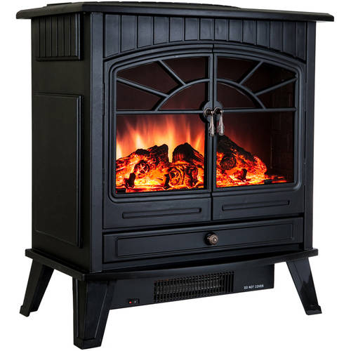 "AKDY FP0033 23"" 1500W Freestanding Electric Fireplace Stove Heater with Vintage Glass Door, Realistic Flame and Logs, Black"