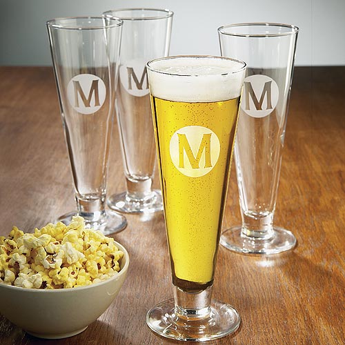 Personalized 15 oz Classic Pilsner Glasses (Set of 4)