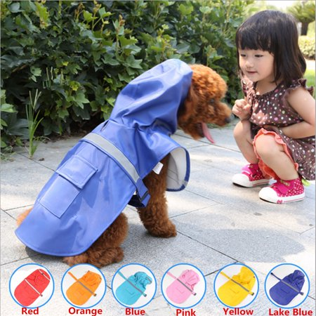Waterproof Dog Raincoat Pet Clothes Hoodie Jacket Outdoor with Reflective Strip Rainwear For Small Dog