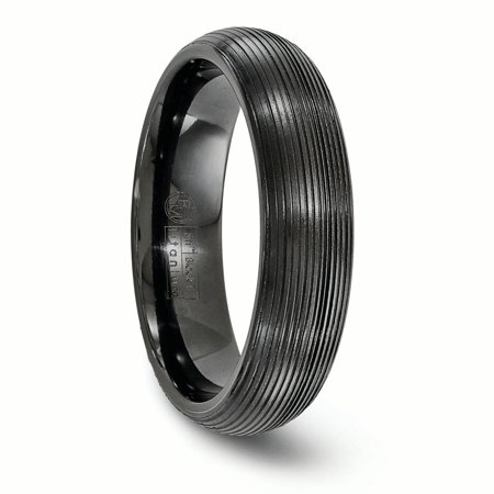Edward Mirell Titanium Black Ti Domed Textured Lines 6mm Band Size 12 - image 1 de 4