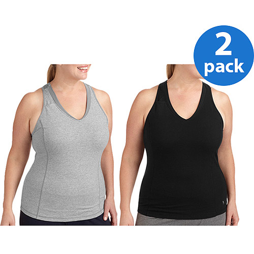Danskin Now Women's Plus Dri-More Core Racerback Shelf-Bra Tank 2pk Value Bundle