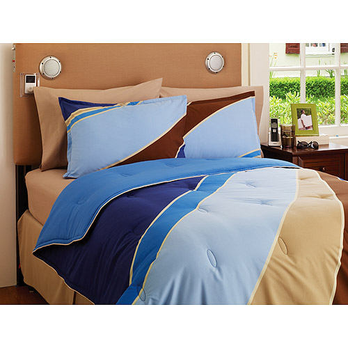 Your Zone Reversible Comforter and Sham Set, Blue Wave/Cobalt