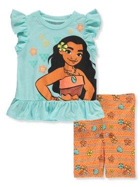 Disney Moana Girls' 2-Piece Bike Shorts Set Outfit