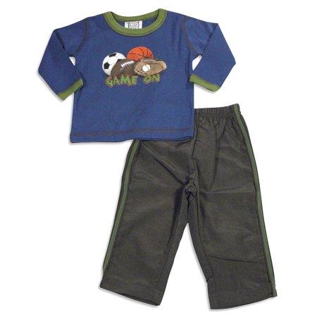 Mis Tee V-Us - Baby Boys Long Sleeve Pant Set Blue Brown / 12 (Toddler 12 Months)