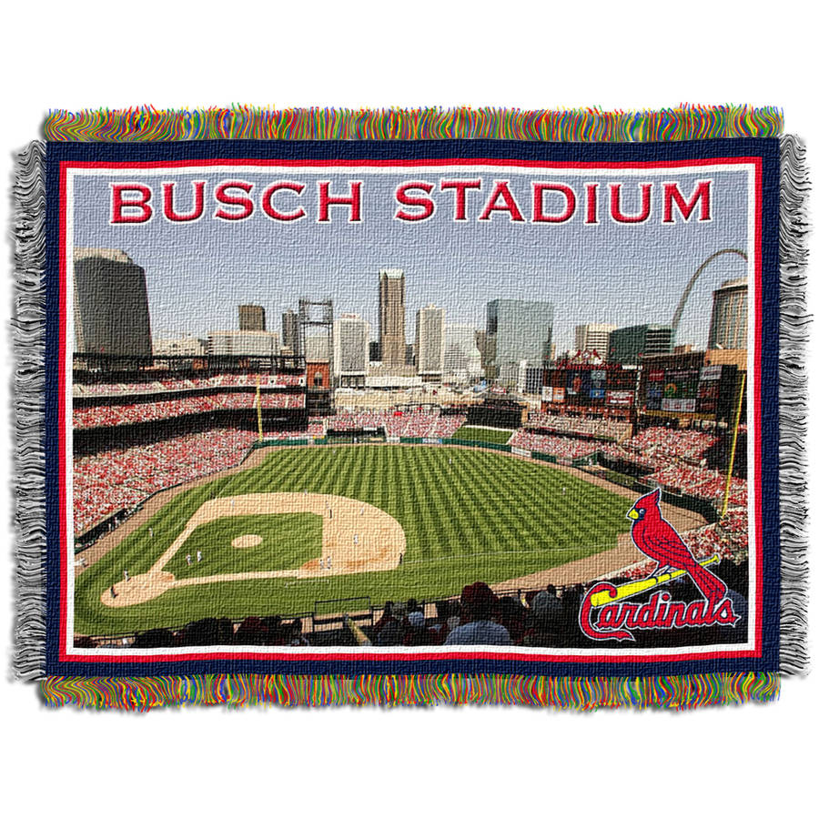 "MLB 48"" x 60"" Stadium Series Tapestry Throw, St. Louis Cardinals New Busch Stadium"