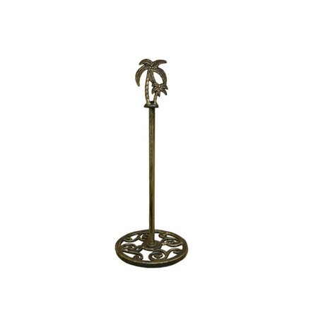 Rustic Gold Cast Iron Palm Tree Extra Toilet Paper Stand 17 Decor Beach Living