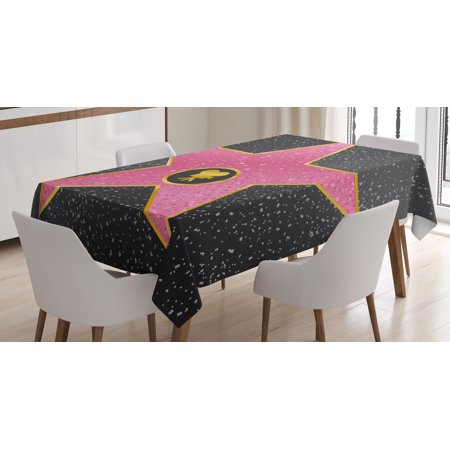 Popstar Party Tablecloth, Hollywood Walk of Fame Symbol Celebrity Entertainment Pop Culture, Rectangular Table Cover for Dining Room Kitchen, 60 X 90 Inches, Light Pink Gold Black, by - Hollywood Part