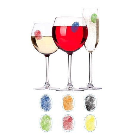 Finger Mark Glass Markers   Set Of 6 Reusable Vinyl Fingerprint Decals   Assorted Colors   Id Your Drink With Style   Great For Wine Glasses  Champagne Flutes  Pint    By Barbuzzo