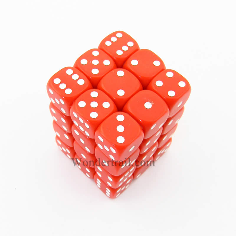 Red Opaque Dice with White Pips D6 12mm (1/2in) Pack of 36 Koplow Games