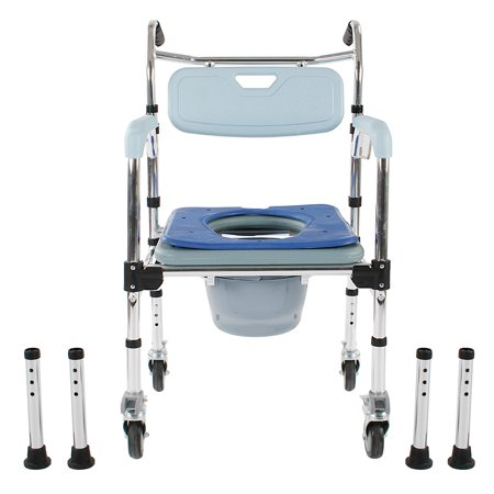 UbesGoo Portable 4-in-1 Bedside Commode Toilet Safety Bathroom Shower Seat Wheelchair
