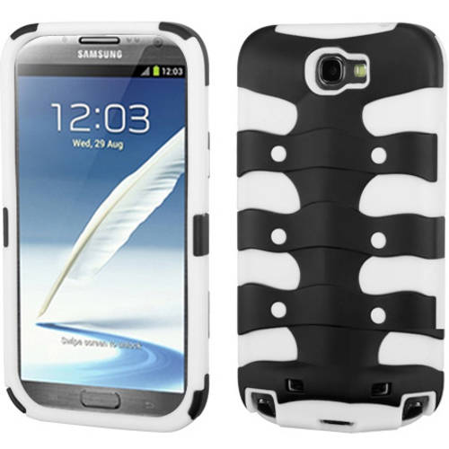 Samsung N7100 Galaxy Note 2 MyBat Rubberized Ribcage Protector Cover, Rubberized Black/Solid White