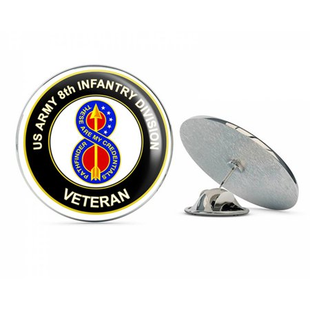 "U.S. Army Veteran 8TH INFANTRY DIVISION UC ROUND Metal 0.75"" Lapel Hat Pin Tie Tack Pinback"