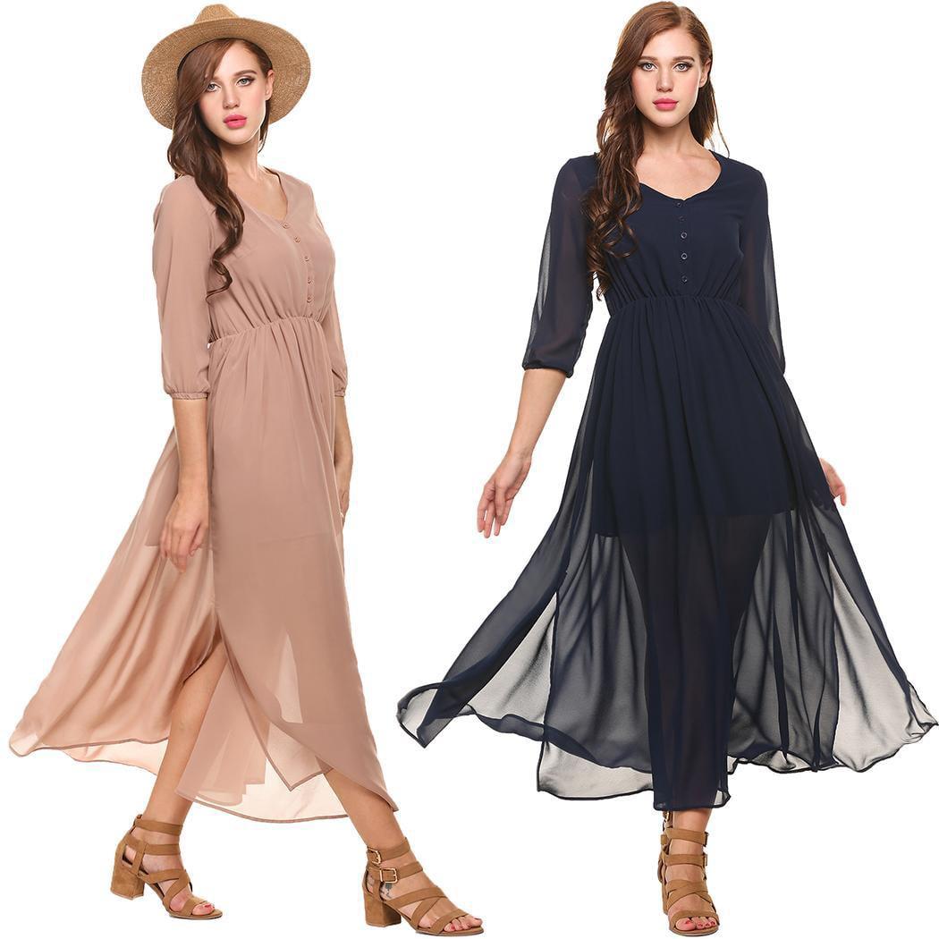 999ddc9b1a7b Women Casual 3/4 Sleeve Solid V Neck Chiffon Vintage Split Maxi Dress HFON  - Walmart.com