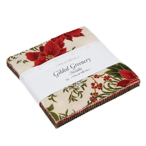 Moda Christmas Gilded Greenery Charm Squares 42 Five Inch Squares