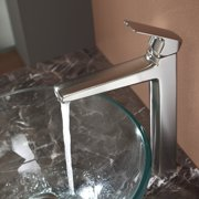 Kraus C-GV-101-12mm-15500 Clear Glass Vessel Sink and Virtus Faucet