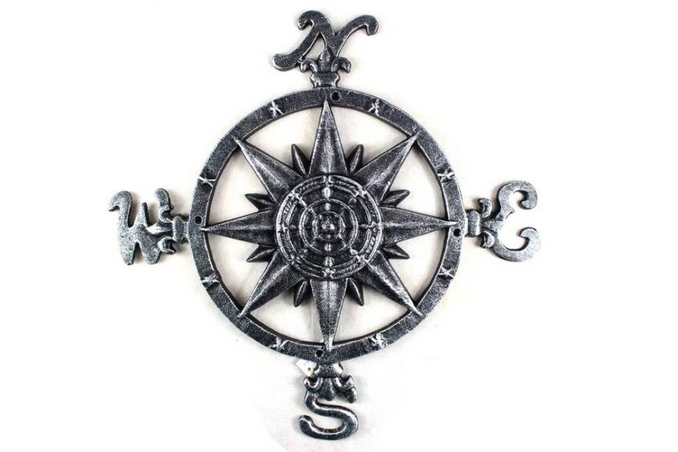 "Click here to buy Antique Silver Cast Iron Large Compass 19"" Marine Compass Nautical Home Decor by Hampton Nautical."
