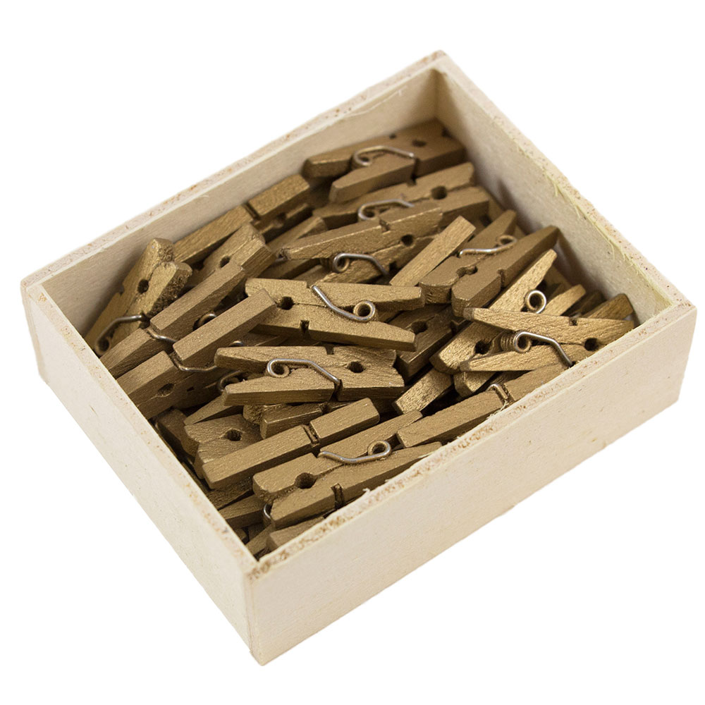 JAM Paper Wood Clothing Pin Clips, Small, 7/8, Gold, 50/pack