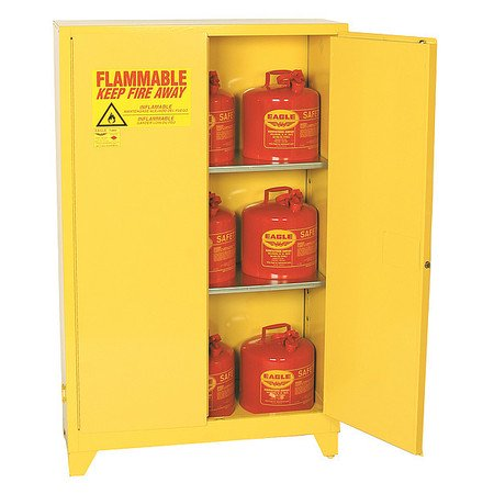 EAGLE 1947LEGS Flammable Safety Cabinet, 45 gal., (Yellow Safety Storage Cabinet)