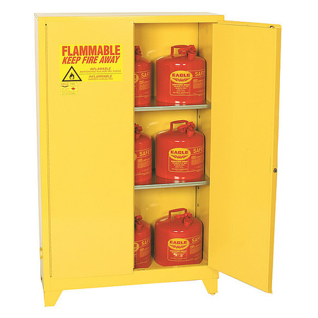 Flammable Safety Cabinet, 45 gal., Yellow EAGLE 1947LEGS