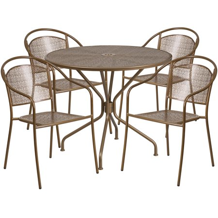 Flash Furniture 35.25'' Round Indoor-Outdoor Steel Patio Table Set with 4 Round Back Chairs, Multiple Colors ()