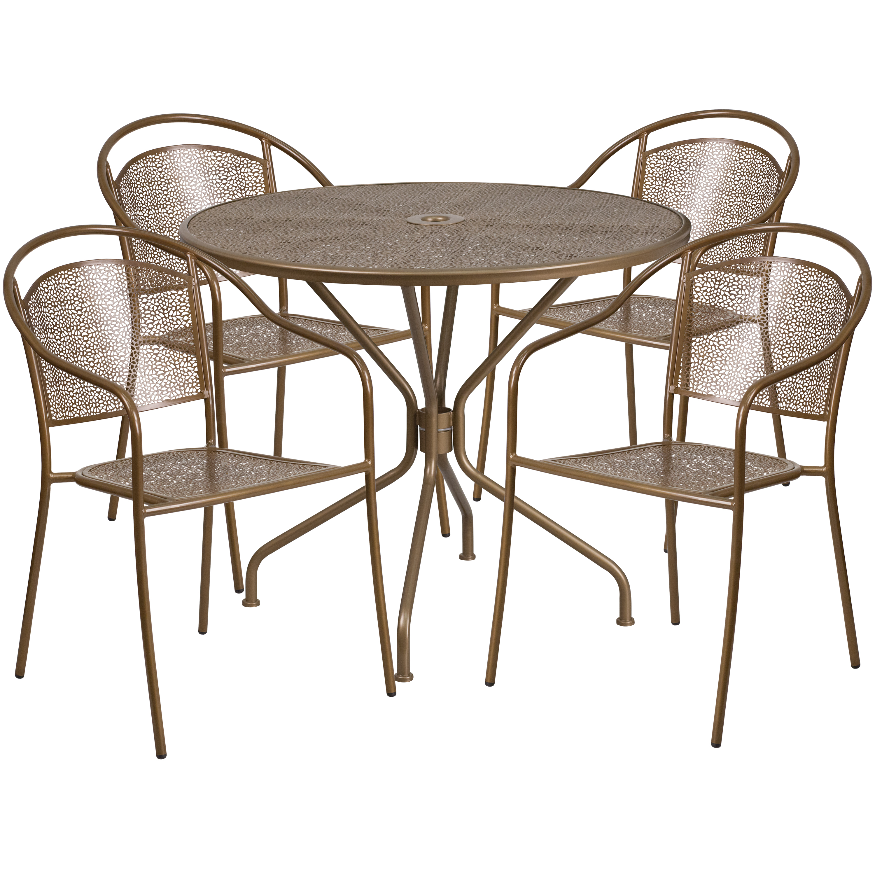 Flash Furniture 35.25'' Round Indoor-Outdoor Steel Patio Table Set with 4 Round Back Chairs, Multiple Colors