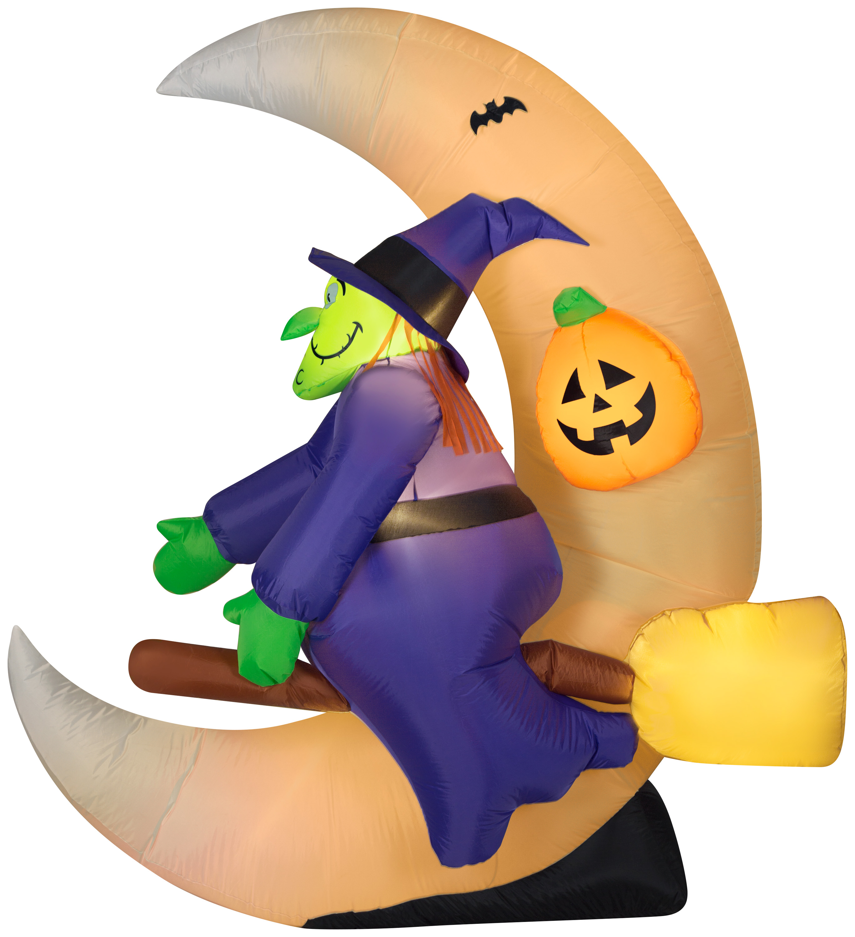 Airblown Inflatable 6 Feet Witch on Broom with Crescent Moon