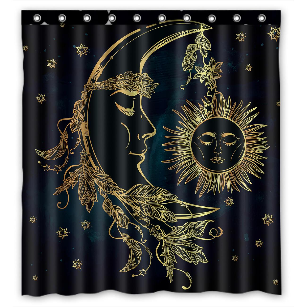 "Celestial Moon Sun Stars NAVY Fabric SHOWER CURTAIN 70/"" w//Hooks"