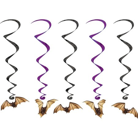 Club Pack of 30 Halloween Bat Whirls Hanging Party Decorations - Club Halloween Party 2017